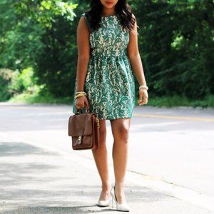 Zara Lace Tulip Flared Dress Green Floral Nude S